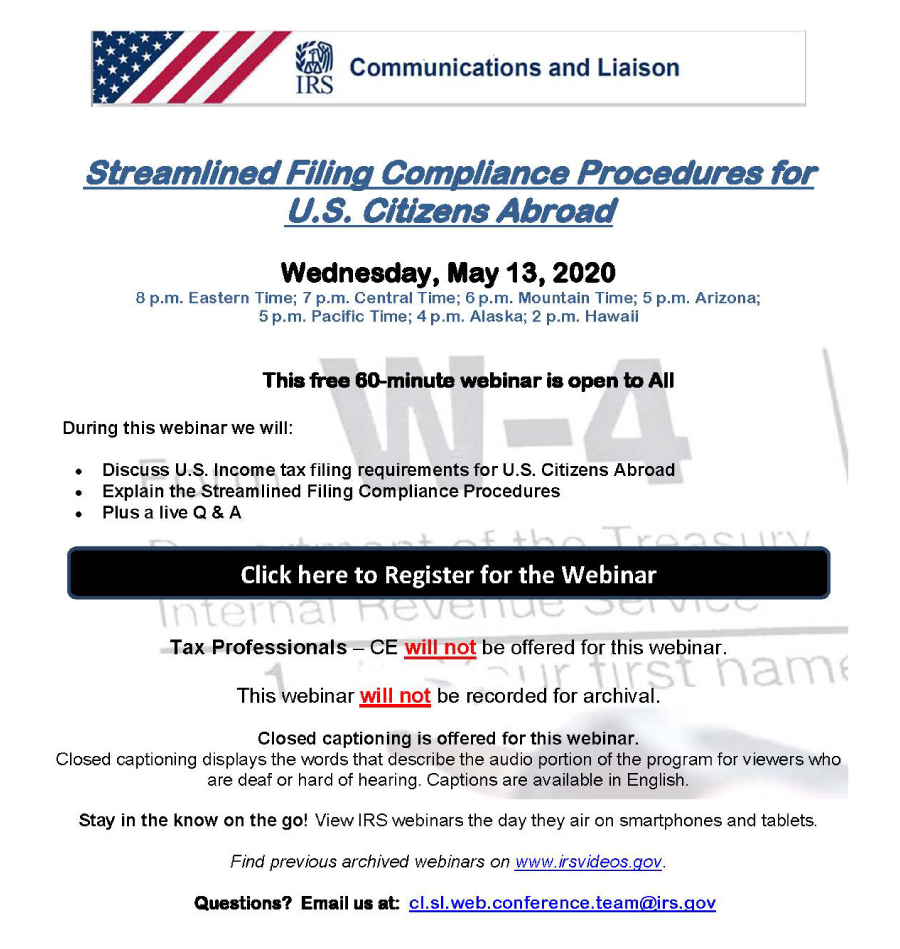 Webinar with IRS